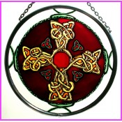 Jewel Cross Stained Glass Roundel