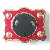 Red Enamel Buckle with Gilt Finish