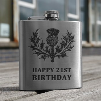 'Happy 21st' 6oz Flask