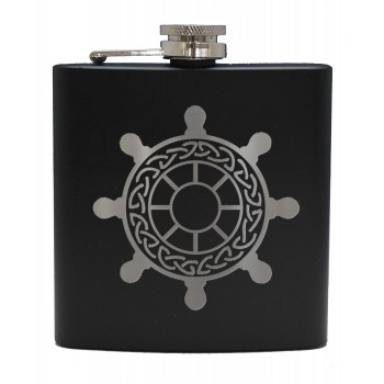 6oz Matt Black Hip Flask Ships Wheel (Celtic)