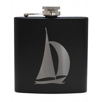6oz Matt Black Hip Flask Yacht