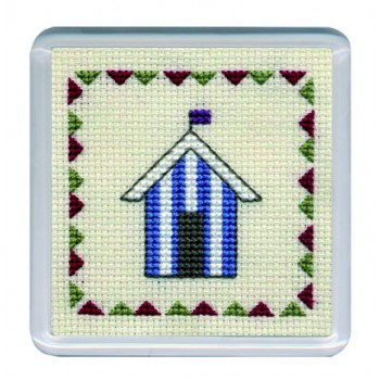 Beach Huts Coaster - Blue Stripe