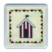 Beach Huts Coaster - Red Stripe