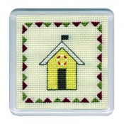 Beach Huts Coaster - Yellow