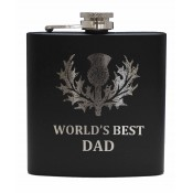 6oz Matt Black Hip Flask 'Best Dad'