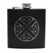 6oz Matt Black Hip Flask Celtic Saltire
