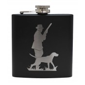 6oz Matt Black Hip Flask Hunter