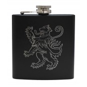 6oz Matt Black Hip Flask Lion Rampant
