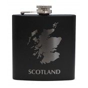 6oz Matt Black Hip Flask Scotland Map