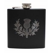 6oz Matt Black Hip Flask Thistle