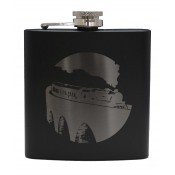 6oz Matt Black Hip Flask Steam Train