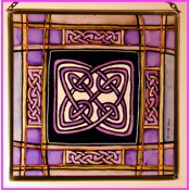Mauve Tartan Knot Stained Glass Panel